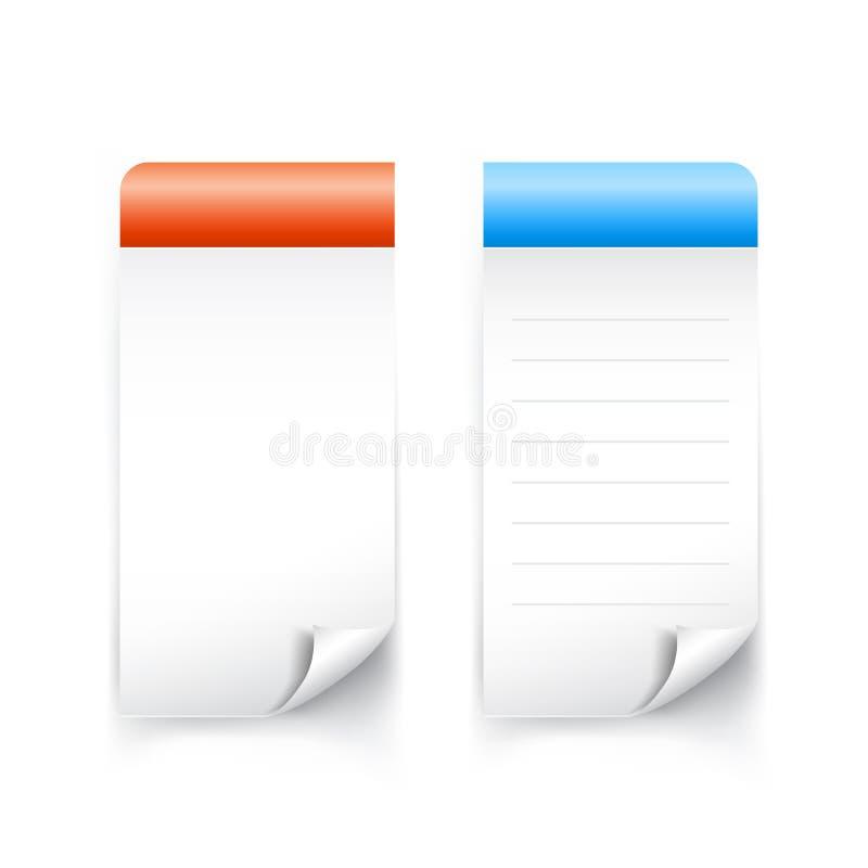 Leere klebrige Tagpapierfahne für Anmerkung 001 lizenzfreie abbildung