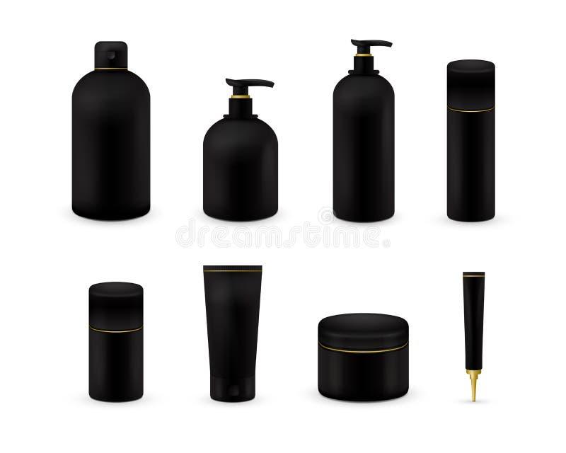 Leere kosmetische Paketsammlung stellte auf weißen Hintergrund ein Realistischer kosmetischer Flaschenspott aufgestellt Shampoo u lizenzfreie abbildung