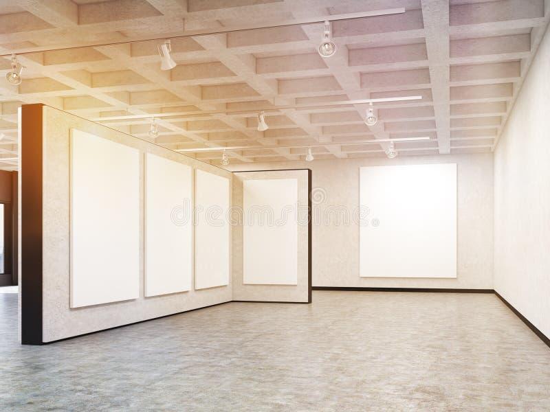 Leere Kunstgalerie mit den leeren Bildern, getont vektor abbildung