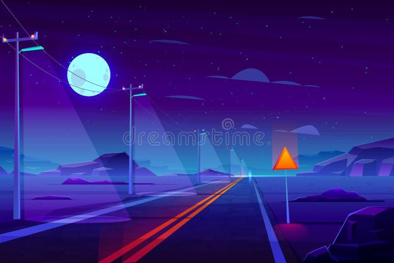 Leere Landstraße im Nachtnachtisch-Karikaturvektor vektor abbildung