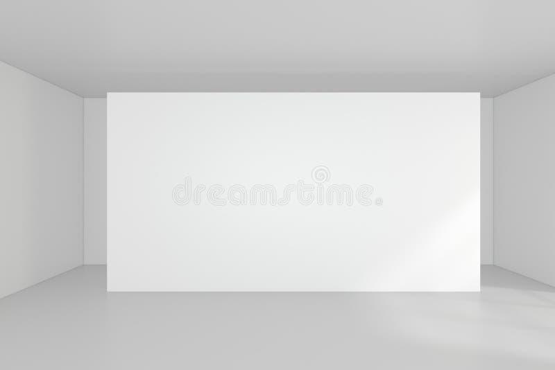 Leere leere Anschlagtafel im weißen Innenraum Wiedergabe 3d lizenzfreies stockfoto