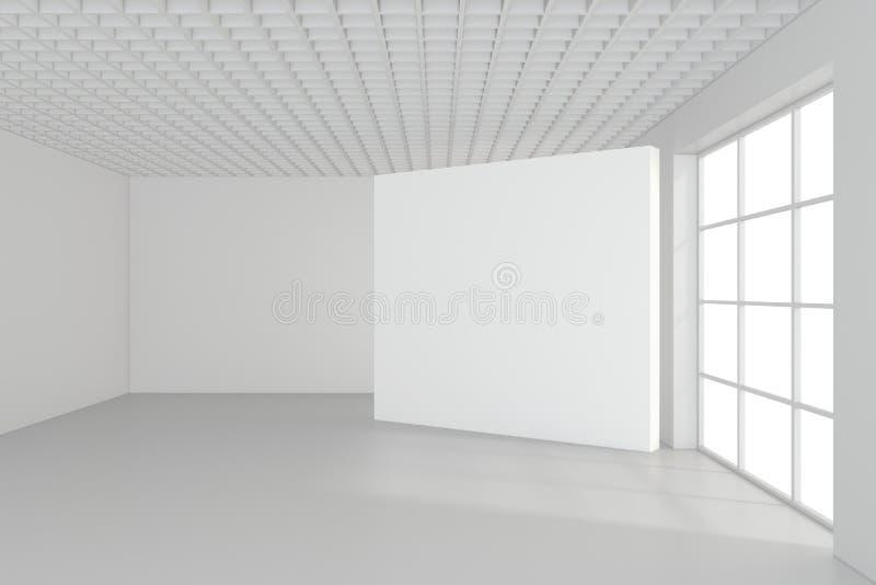 Leere leere Anschlagtafel im weißen Innenraum Wiedergabe 3d lizenzfreies stockbild