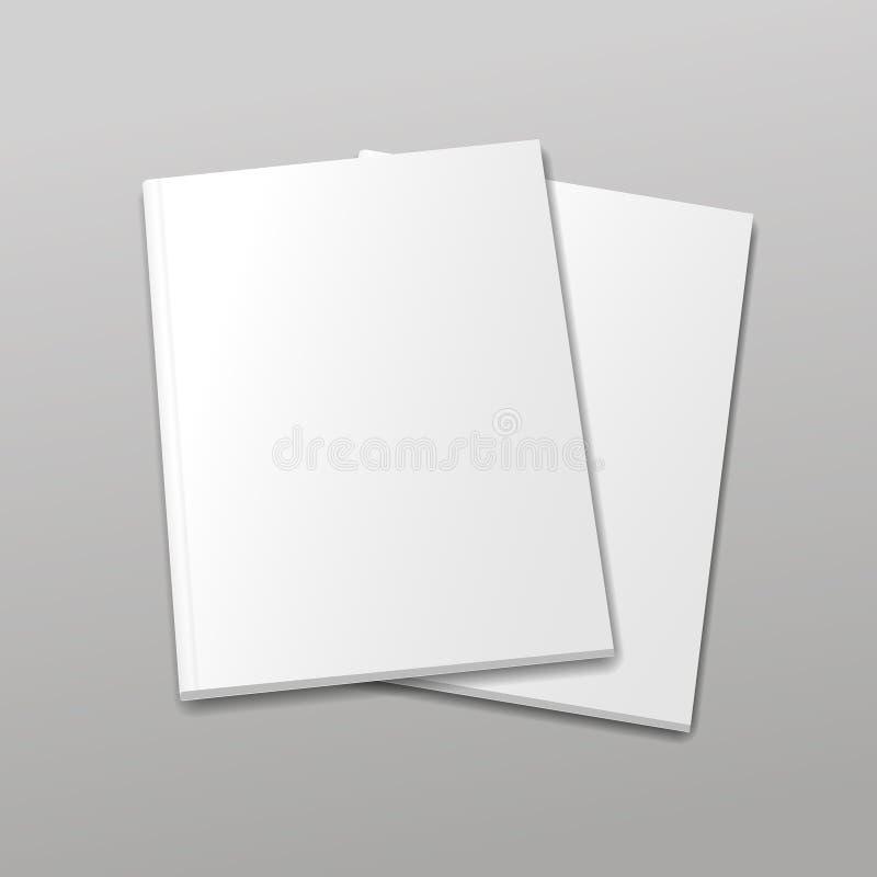 Leere leere Zeitschriften- oder Buchschablone auf einem Grau lizenzfreie abbildung