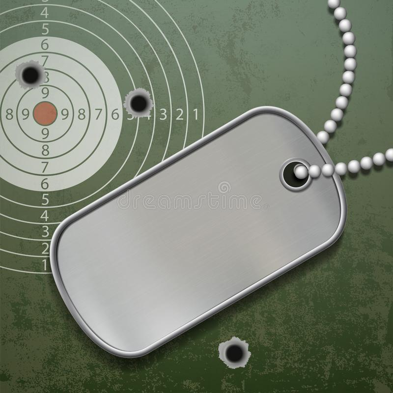 Leere Metallumbauten auf einer Kette Identifikations-Militärsoldat lizenzfreie abbildung