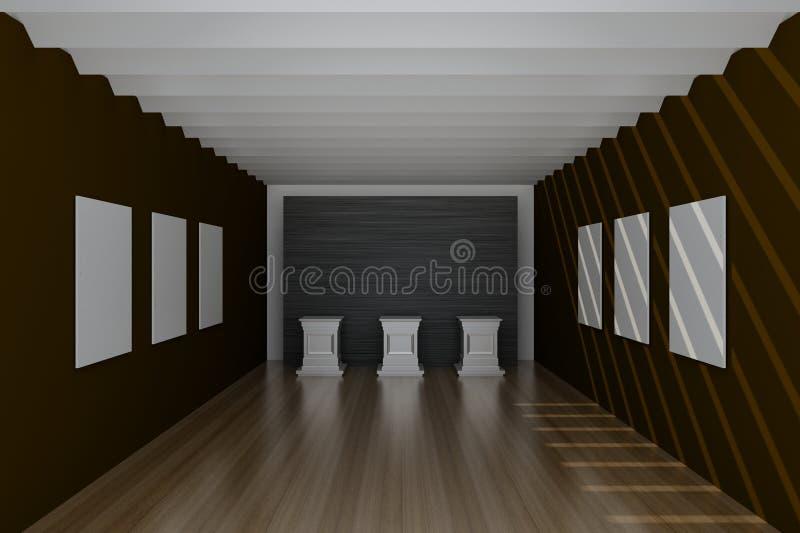 Leere Museumshalle, Wiedergabe 3d stock abbildung
