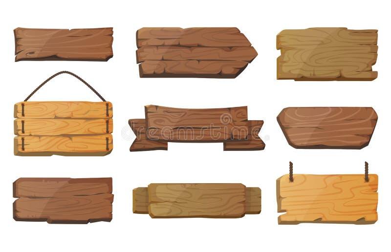 Leere oder leere Westschilder oder hölzerne Planke vektor abbildung
