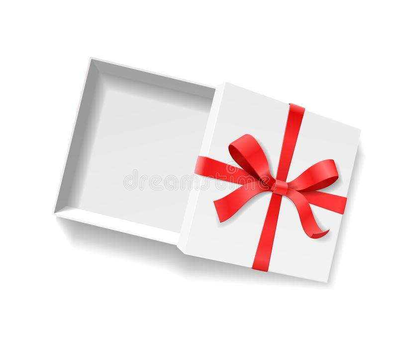 Leere offene Geschenkbox mit rote Farbbogenknoten und Band lokalisiert auf weißem Hintergrund stock abbildung