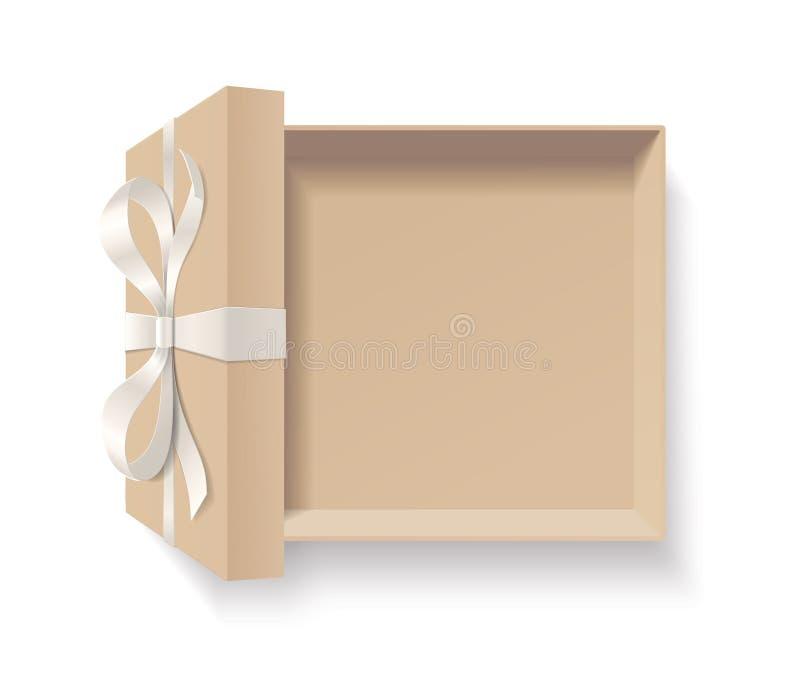 Leere offene Geschenkbox mit rote Farbbogenknoten und Band lokalisiert auf weißem Hintergrund vektor abbildung