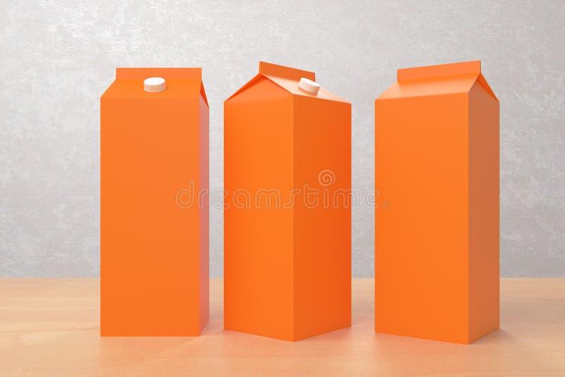 Leere orange Milch-/Saftverpackungen lizenzfreie abbildung