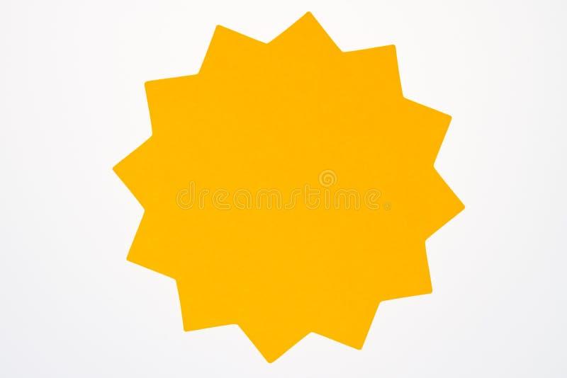 Leere orange Sternexplosion lokalisiert auf Weiß. stockfotos