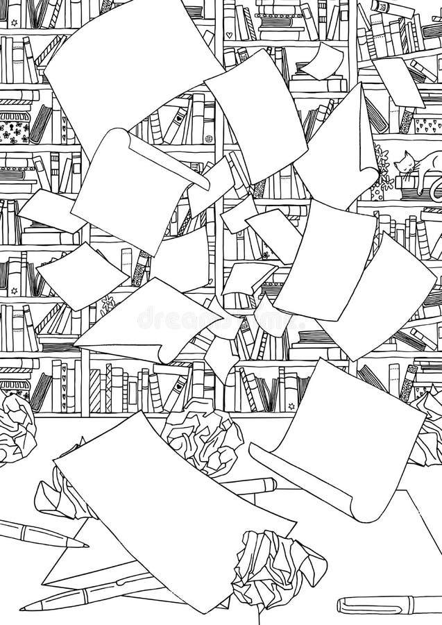 Leere Papiere, fliegend durch das Büro lizenzfreie abbildung