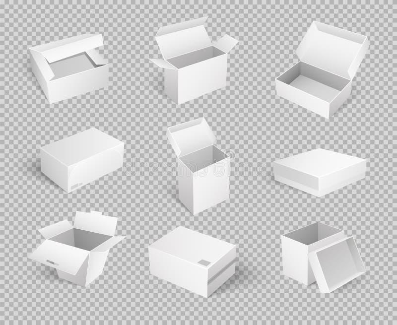 Leere Pappkarikatur-Behälter lokalisierten Ikonen vektor abbildung