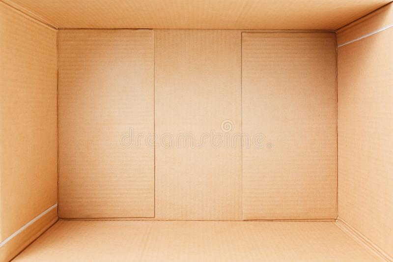 Leere Pappschachtel, Innenansicht Ansicht von oben lizenzfreies stockbild