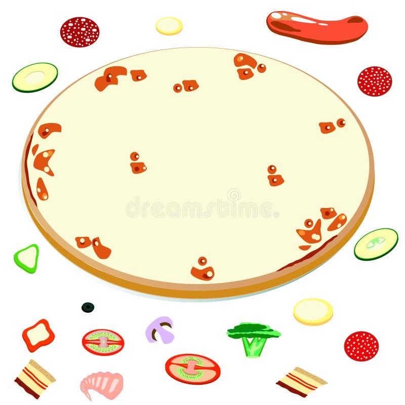 Leere Pizza und Bestandteile für sie vektor abbildung