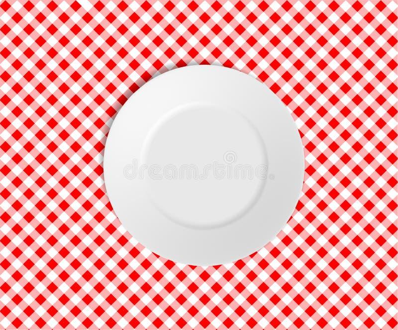Leere Platte auf einer roten überprüften Tischdecke vektor abbildung