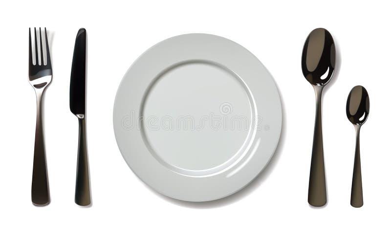 Leere Platte mit Löffel, Messer und Gabel auf einem weißen Hintergrund ineinandergreifen vektor abbildung