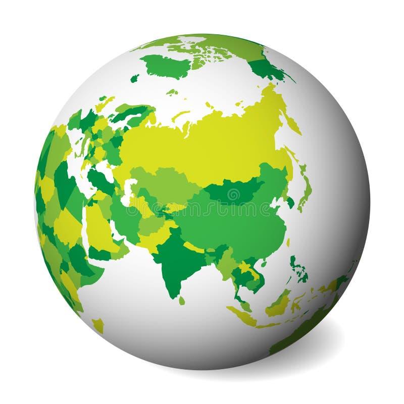 Leere politische Karte von Asien Kugel der Erde 3D mit grüner Karte Auch im corel abgehobenen Betrag vektor abbildung