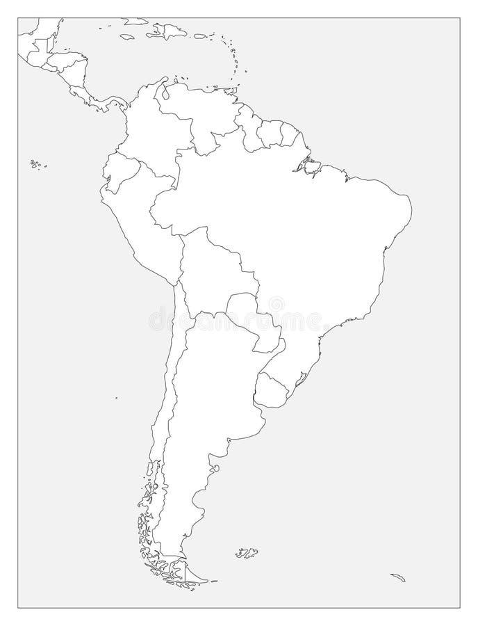 Leere politische Karte von Südamerika Einfache flache Vektorentwurfskarte vektor abbildung