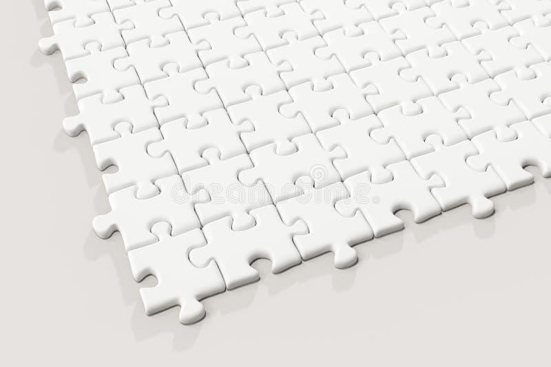 Leere Puzzlespiele vereinbarten ordentlich mit weißem Hintergrund, Wiedergabe 3d lizenzfreie abbildung