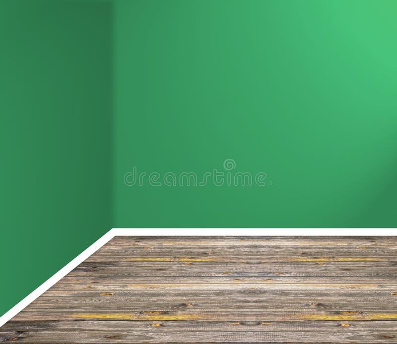 Leere Raumecke mit Bretterboden und grüner Wand lizenzfreies stockbild