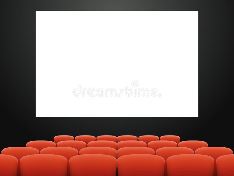 Leere realistische Innenarchitekturvektorillustration des Kinohallenlehnsessel-Filmtheaters lizenzfreie abbildung