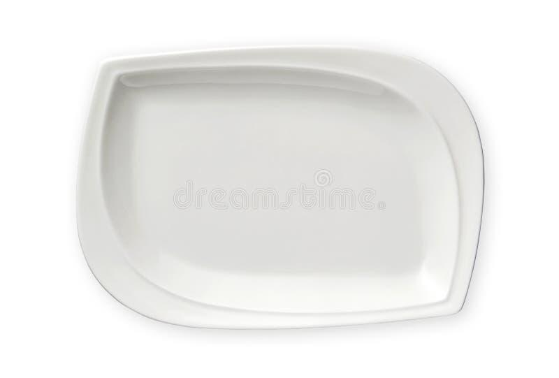 Leere rechteckige Platte, exotische weiße Platte, Ansicht von oben lokalisiert auf weißem Hintergrund mit Beschneidungspfad lizenzfreie stockfotos