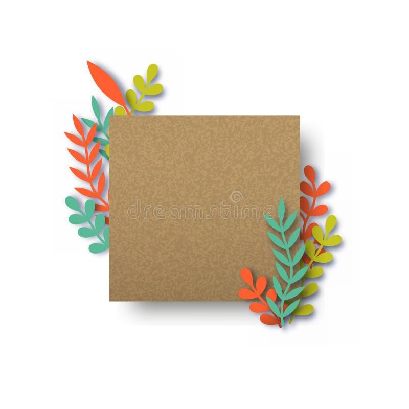 Leere Recyclingpapierkartenschablone mit Blättern vektor abbildung