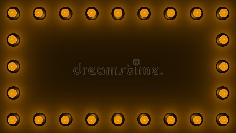 Leere Retro-Plakatwand mit elektrischen Lampen um den Umkreis wie in Vegas stock abbildung