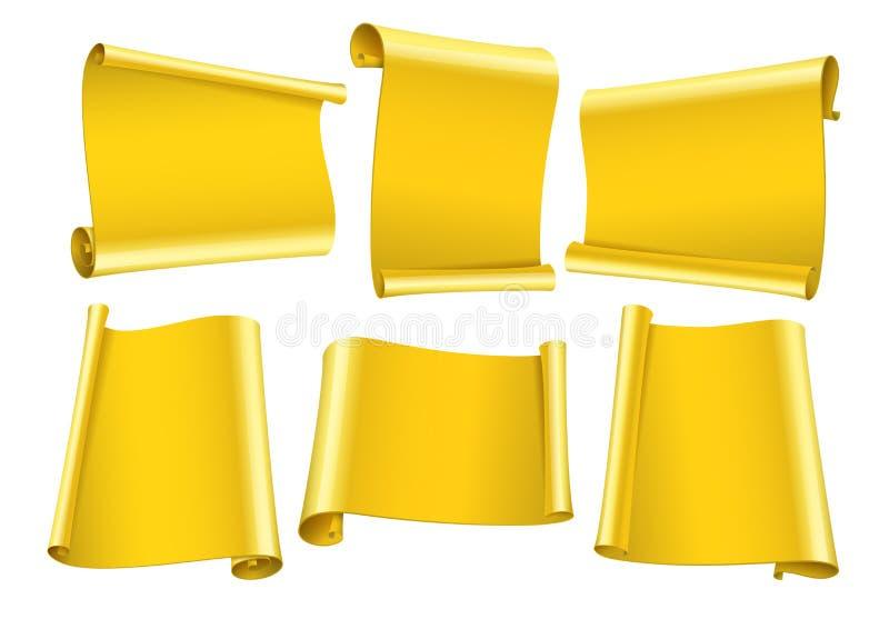 Leere Rollen von den Goldpapieraufklebern eingestellt stock abbildung