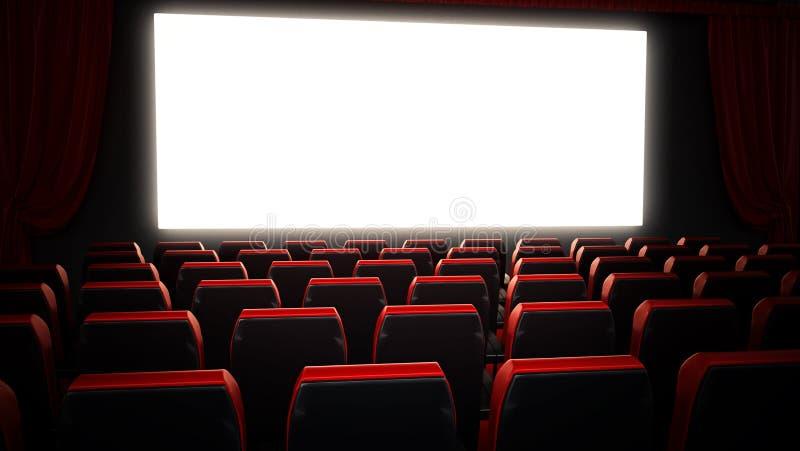Leere rote Kinositze und leere Kinoleinwand Abbildung 3D stock abbildung