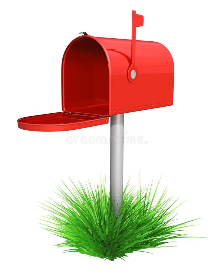 Leere rote Mailbox und grünes Gras lizenzfreie abbildung