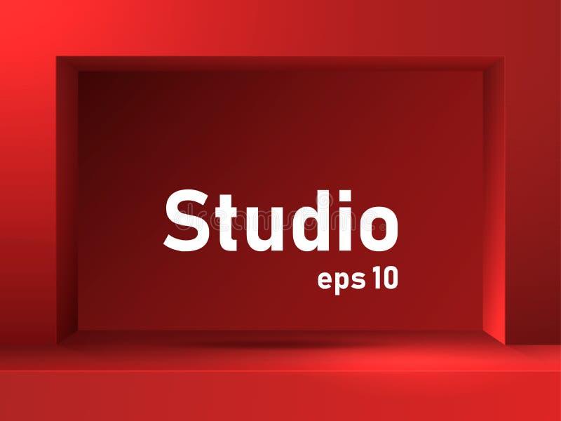 Leere rote Studiotabelle mit quadratischer Nut und Leiste Freier Raum für Produktdarstellung lizenzfreie abbildung