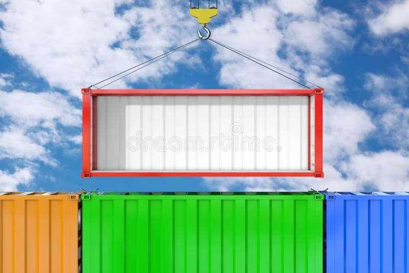 Leere rote Versandverpackung mit entferntem Seitenwand-Transport durch Crane Hook Wiedergabe 3d stockbild