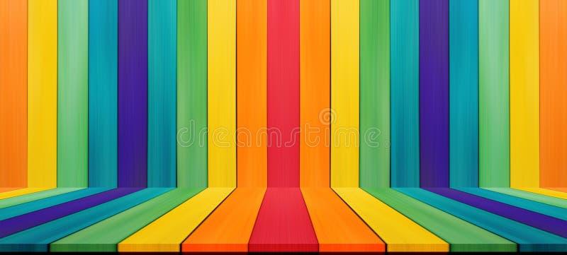 Leere Süßigkeitsregenbogen-Farbtischplatte für Anzeigenmontage Ihr Stoß stockbilder