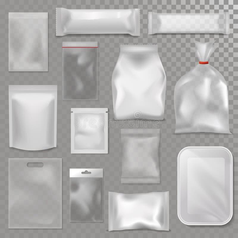 Leere Satzwerbungsschablonenpaket-Vektorillustration der Plastiktaschepaketmodellklarsichtpackung 3d realistische vektor abbildung