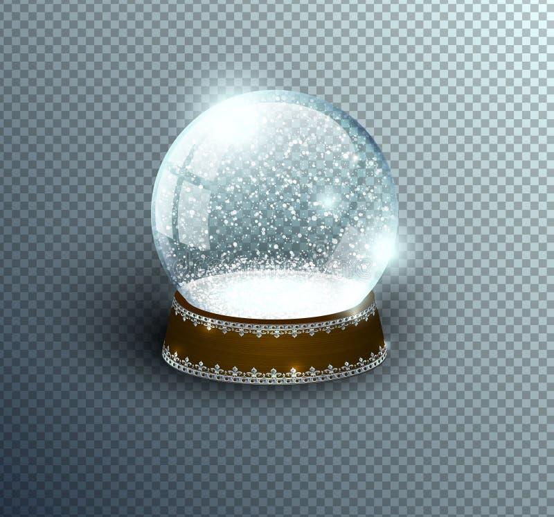 Leere Schablone der Vektorschnee-Kugel lokalisiert auf transparentem Hintergrund Weihnachtszauberball Glaskugelhaube, hölzerner S vektor abbildung