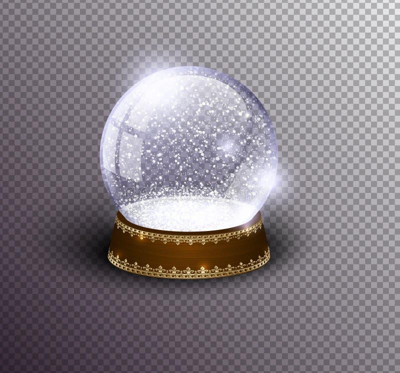 Leere Schablone der Vektorschnee-Kugel lokalisiert auf transparentem Hintergrund Weihnachtszauberball Glaskugelhaube, hölzerner S stock abbildung