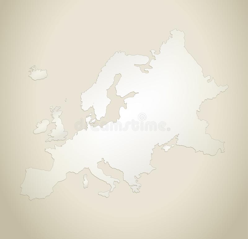 Leere Schablone des Europa-Kartenalten Papierhintergrundes lizenzfreie abbildung
