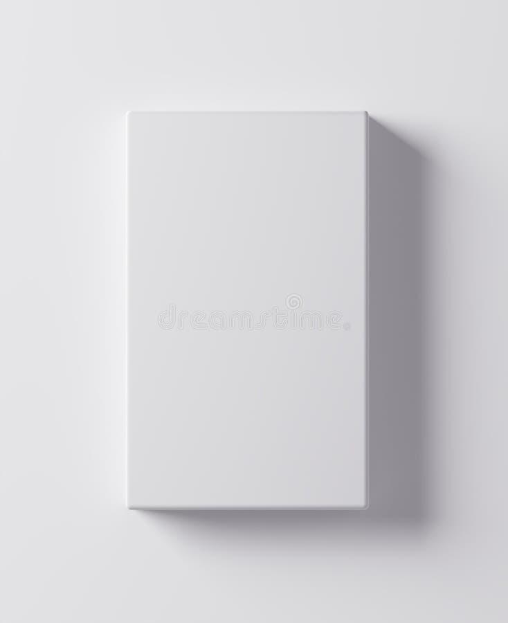 Leere Schablone des weißen Kastens auf weißer Illustration des Hintergrundes 3D lizenzfreie abbildung