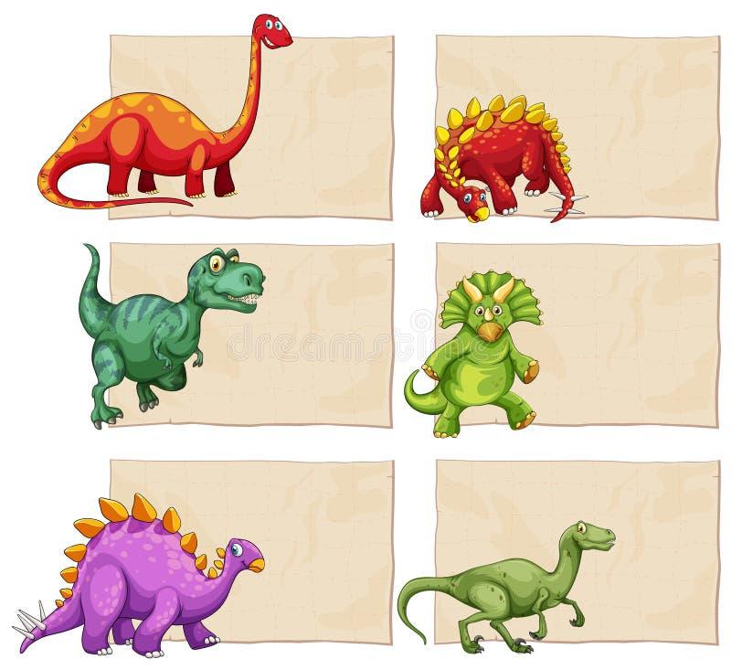 Leere Schablone mit Dinosauriern vektor abbildung