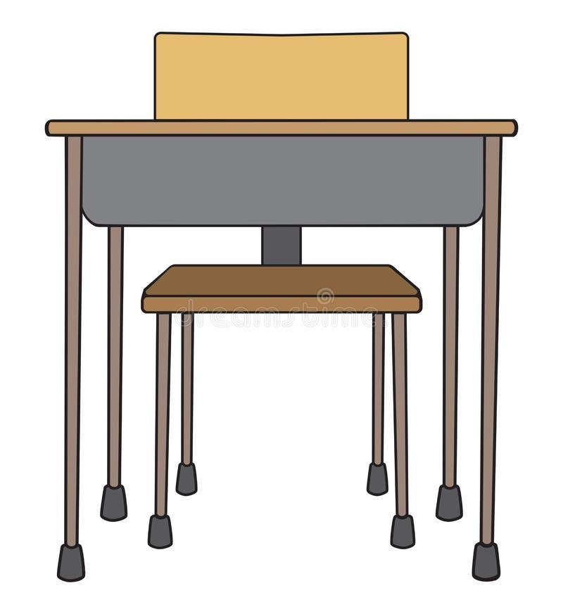 Leere Schulbank mit Stuhl lizenzfreie abbildung