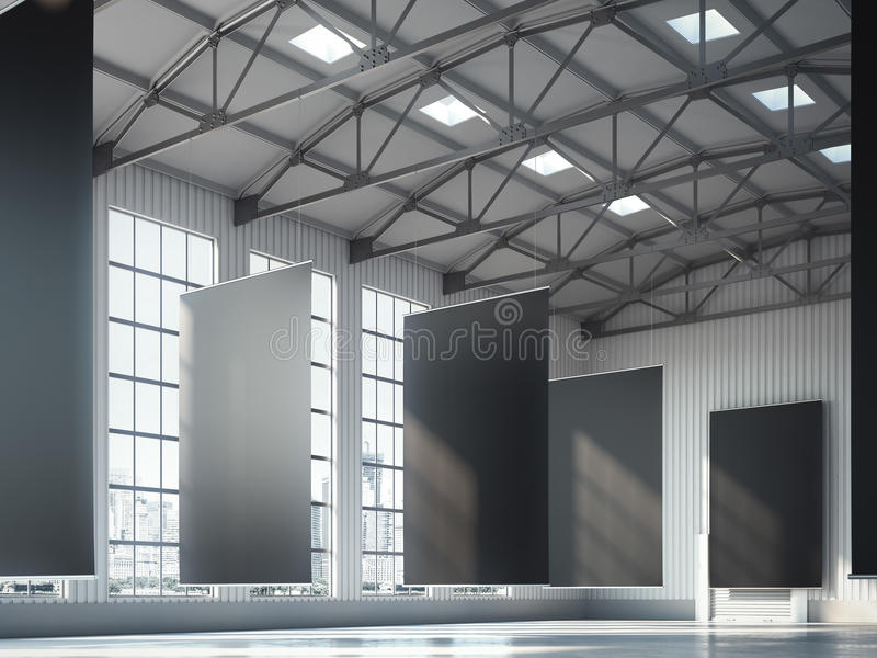 Leere schwarze Fahnen im Hangarbereich Wiedergabe 3d lizenzfreies stockfoto