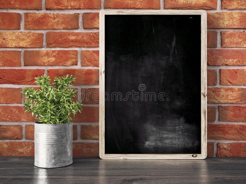 Leere schwarze Tafel, 3D übertragen lizenzfreies stockbild