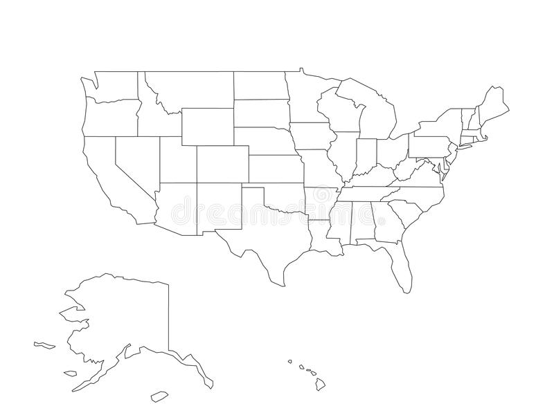 Leere schwarze Vektorentwurfskarte von USA, die Vereinigten Staaten von Amerika vektor abbildung