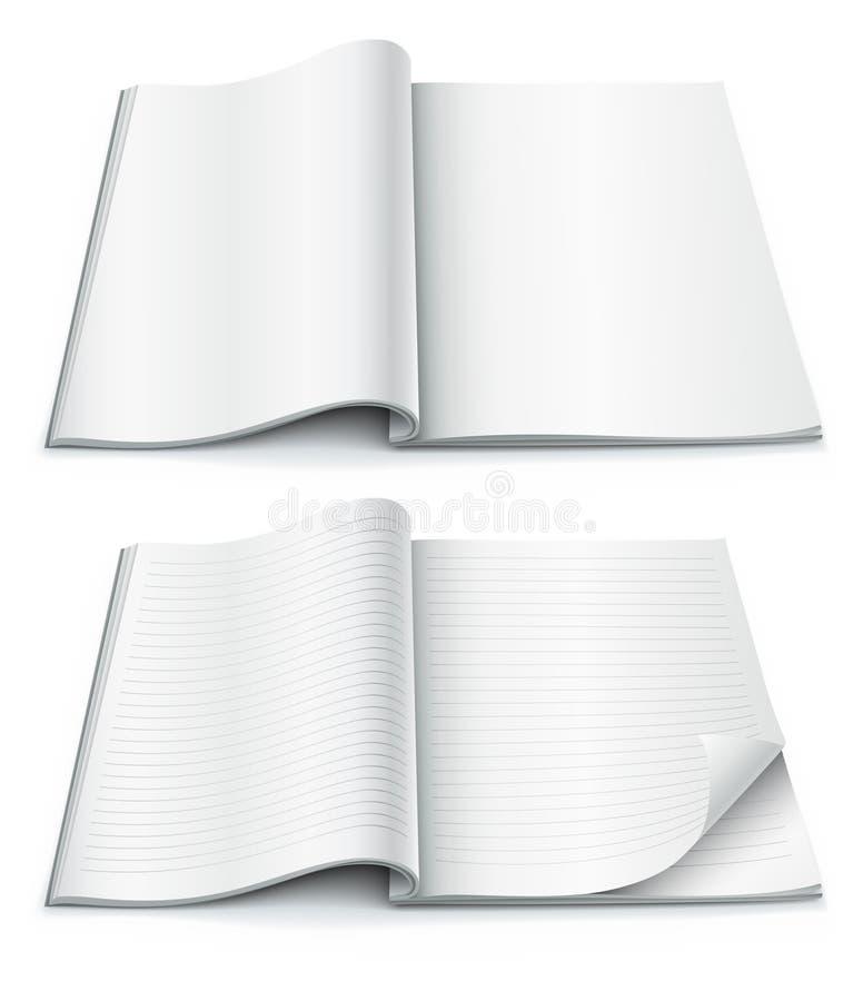 Leere Seiten innerhalb der Zeitschrift mit eingewickelter Ecke lizenzfreie abbildung