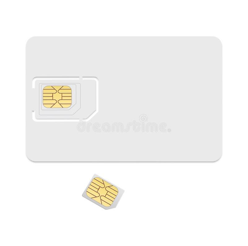 Leere SIM-Karten-Schablone Realistische Vektorikone auf weißem Hintergrund stock abbildung