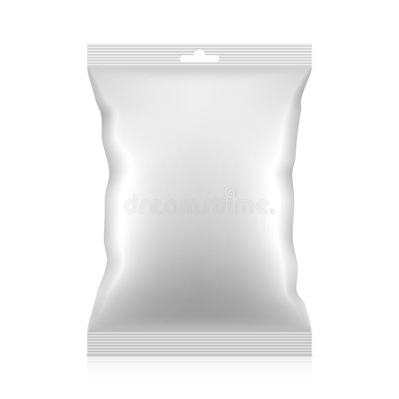 Leere Snacklebensmittel-Folienverpackungstasche mit Fallvorsprung Vektor vektor abbildung