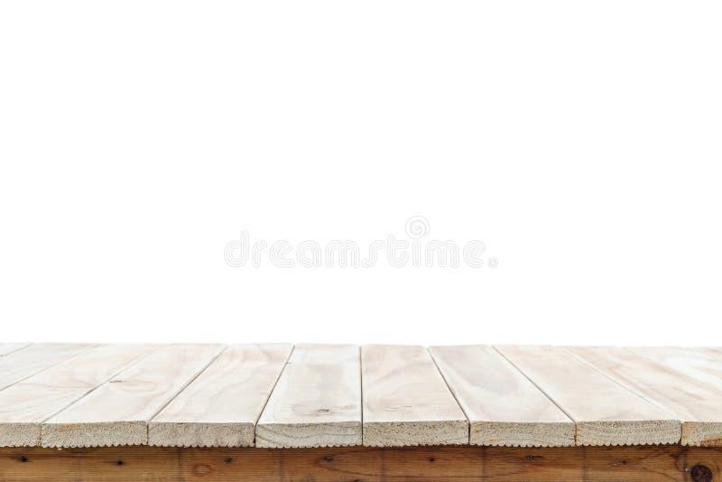 Leere Spitze des Holztischs oder des Zählers lokalisiert auf weißem backgroun lizenzfreie stockfotos