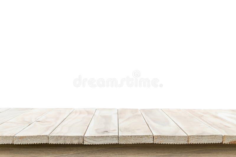 Leere Spitze des Holztischs oder des Zählers lokalisiert auf weißem backgroun lizenzfreies stockbild