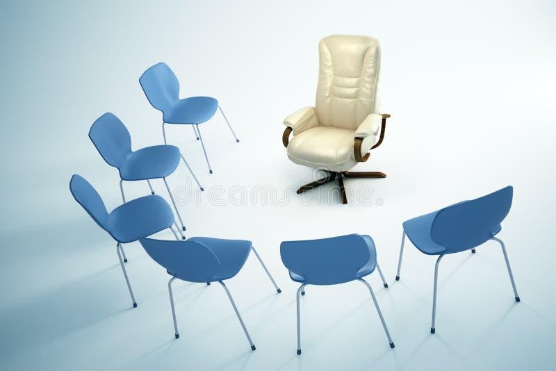 Leere Stühle - Führungkonzept lizenzfreie abbildung